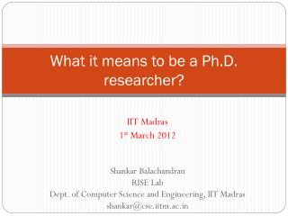 What it means to be a Ph.D. researcher?