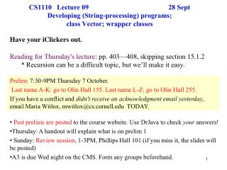 Prelim : 7:30-9PM Thursday 7 October.
