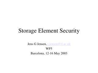 Storage Element Security