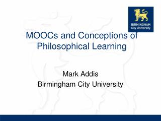 MOOCs and Conceptions of Philosophical Learning