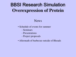 BBSI Research Simulation Overexpression of Protein News