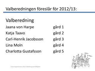 Valberedningen föreslår för 2012/13: