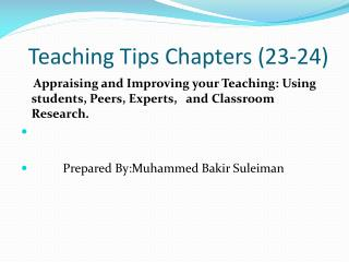 Teaching Tips Chapters (23-24)