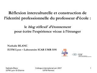R flexion interculturelle et construction de l identit  professionnelle du professeur d  cole :   le blog r flexif d  to