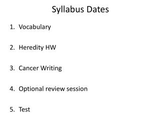 Syllabus Dates