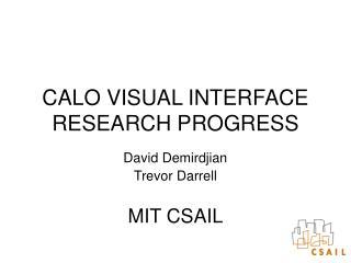 CALO VISUAL INTERFACE RESEARCH PROGRESS