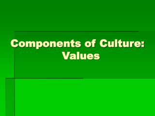 Components of Culture:   Values