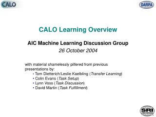 CALO Learning Overview
