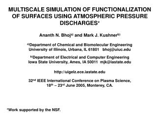 MULTISCALE SIMULATION OF FUNCTIONALIZATION OF SURFACES USING ATMOSPHERIC PRESSURE  DISCHARGES *
