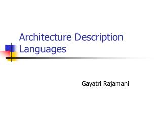 Architecture Description Languages