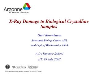 X-Ray Damage to Biological Crystalline Samples