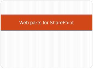Web parts for SharePoint
