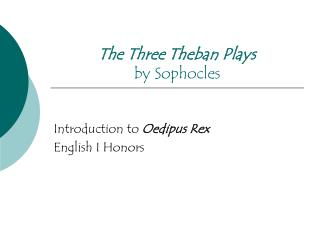 The Three Theban Plays by Sophocles
