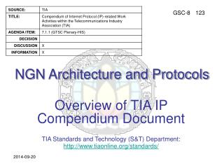 NGN Architecture and Protocols