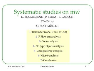 Systematic studies on mw