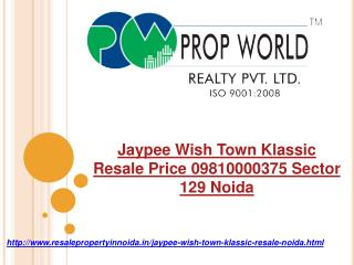 Jaypee Wish Town Klassic Resale Price 09810000375 Sector 129
