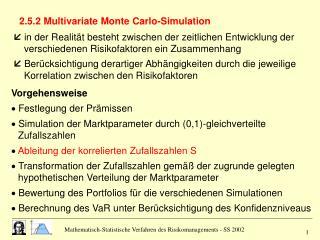2.5.2 Multivariate Monte Carlo-Simulation
