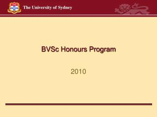 BVSc Honours Program