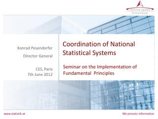 Coordination of National Statistical Systems
