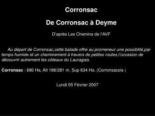 Corronsac De Corronsac à Deyme D'après Les Chemins de l'AVF