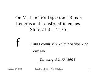 On M. I. to TeV Injection : Bunch Lengths and transfer efficiencies. Store 2150 – 2155.