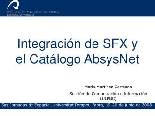 Integración de SFX y el Catálogo AbsysNet