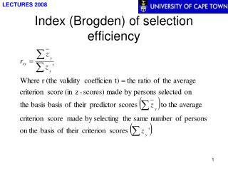 Index Brogden of selection efficiency