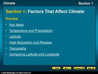 Section 1:  Factors That Affect Climate
