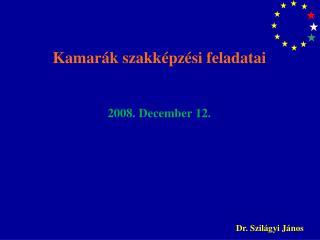 Kamarák szakképzési feladatai 2008. December 12.