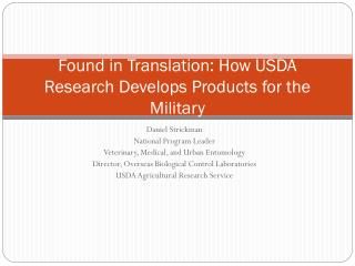 Found in Translation: How USDA Research Develops Products for the Military