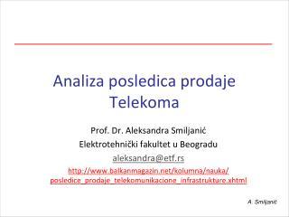 Analiza posledica prodaje Telekoma