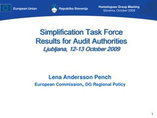 Lena Andersson Pench European Commission ,  DG Regional Policy