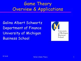 Game Theory   Overview & Applications
