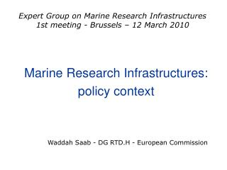 Marine Research Infrastructures: policy context