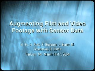 Augmenting Film and Video Footage with Sensor Data