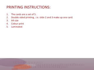 PRINTING INSTRUCTIONS: The cards are a set of 5.