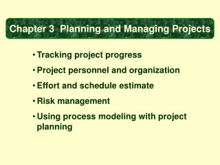 Tracking project progress Project personnel and organization Effort and schedule estimate
