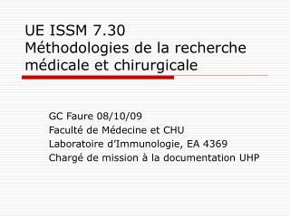 UE ISSM 7.30 M thodologies de la recherche m dicale et chirurgicale
