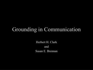 Grounding in Communication