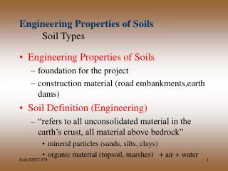 Engineering Properties of Soils Soil Types