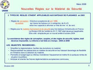 Nouvelles  R gles  sur  le  Mat riel  de  S curit