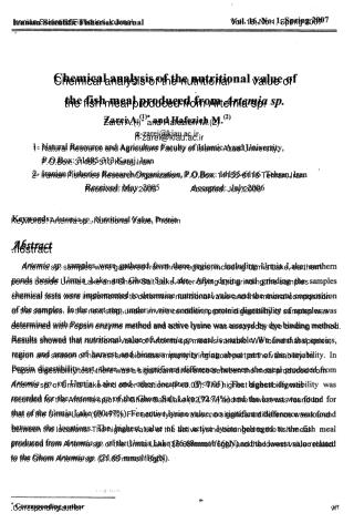Iranian Scientific Fisheries Journal