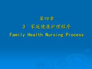 第四章   3   家庭健康护理程序 Family Health Nursing Process