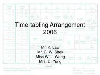 Time-tabling Arrangement  2006