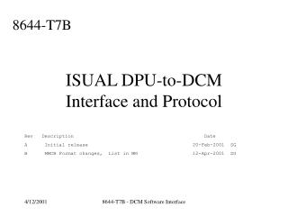 ISUAL DPU-to-DCM Interface and Protocol