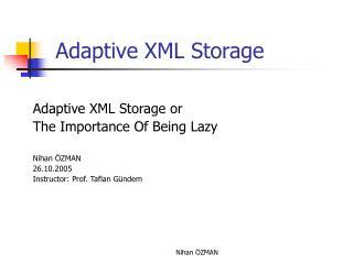 Adaptive XML Storage