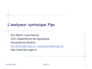 L analyseur syntaxique Fips