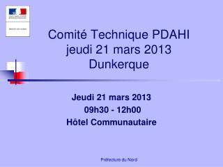 Comit� Technique PDAHI  jeudi 21 mars 2013 Dunkerque