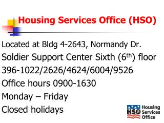 Housing Services Office (HSO)