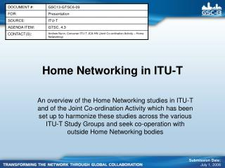 Home Networking in ITU-T